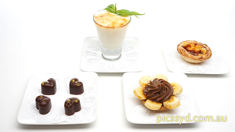 International Pastry: Pistachio Chocolate, Caramel Rice Pudding, Banana Chocolate Tart, Portuguese Custard Tart