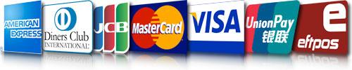 American Express, Diners, JCB, MasterCard, Visa, CUP, EFTPOS