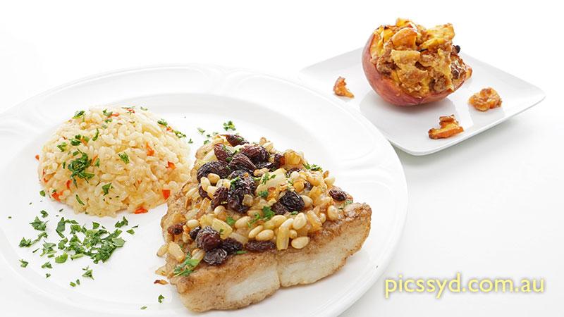 Venetian style barramundi, Italian style risotto, baked peach piedmont style